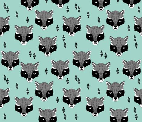 raccoon /// mint sweet raccoon face animal head hand-drawn illustration mint kids gender neutral baby nursery  fabric by andrea_lauren on Spoonflower - custom fabric