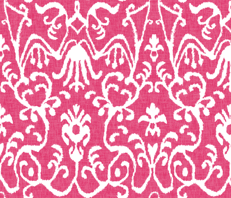 Lucette Ikat in Hot Pink fabric by willowlanetextiles on Spoonflower - custom fabric