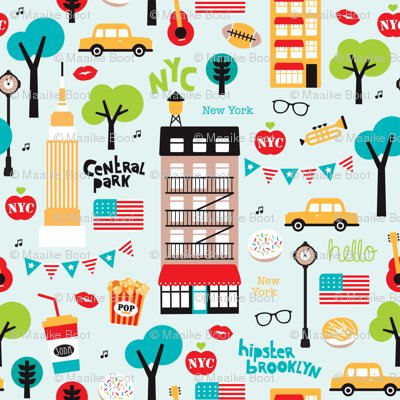New York City colorful icons and illustration pattern of manhattan and brooklyn