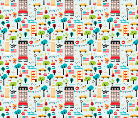 New York City colorful icons and illustration pattern of manhattan and brooklyn fabric by littlesmilemakers on Spoonflower - custom fabric