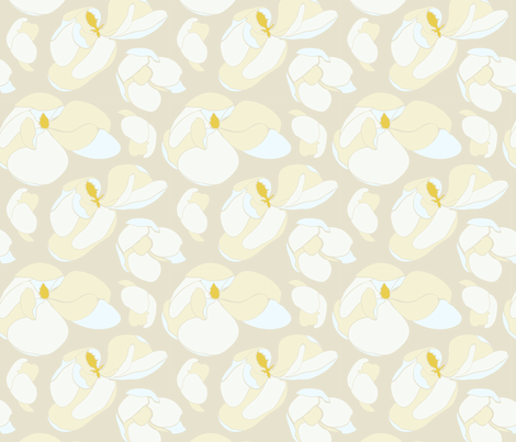 Botanical magnolia in nude color fabric by mayacoa on Spoonflower - custom fabric