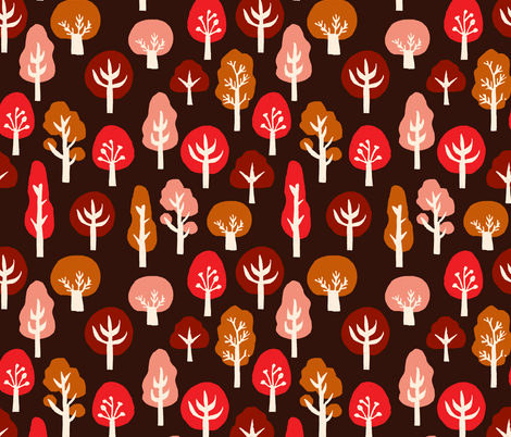 trees // linocut block print trees by andrea lauren fall autumn tree design andrea lauren linocut fabric by andrea_lauren on Spoonflower - custom fabric