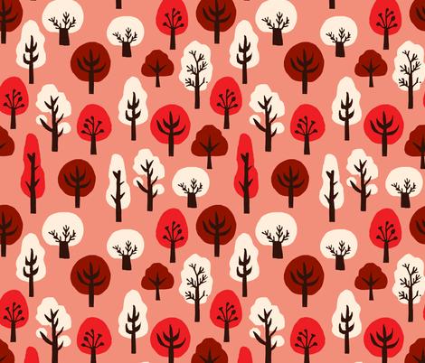trees // pink and red kawaii tree fabric andrea lauren design linocut block print fabric design fabric by andrea_lauren on Spoonflower - custom fabric