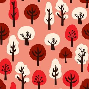 trees // pink and red kawaii tree fabric andrea lauren design linocut block print fabric design