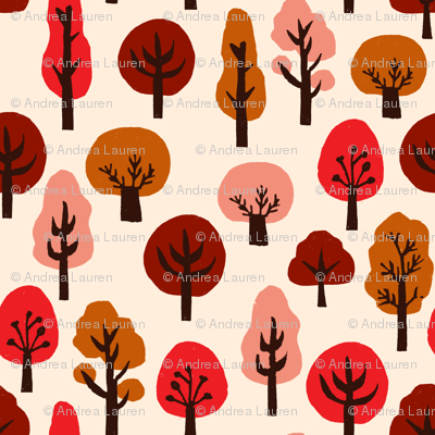 trees // autumn fall trees fabric andrea lauren linocut fabric fall autumns kawaii cute