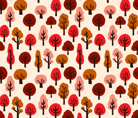 trees // autumn fall trees fabric andrea lauren linocut fabric fall autumns kawaii cute  fabric by andrea_lauren on Spoonflower - custom fabric