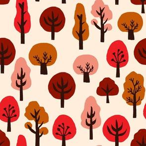 trees // autumn fall trees fabric andrea lauren linocut fabric fall autumns kawaii cute