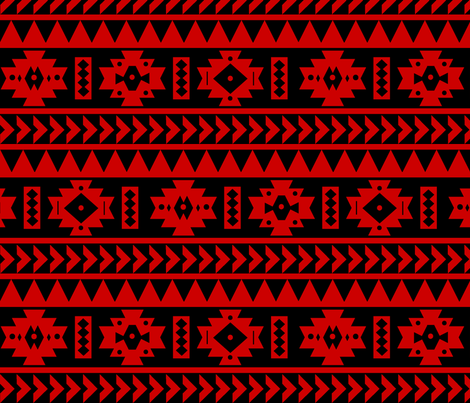 UGA Red and Black Aztec tribal Print fabric by seachelle on Spoonflower - custom fabric