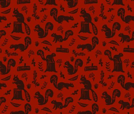 squirrels // maroon squirrel fall autumn fabric linocut fabrics andrea lauren design acorns nature  fabric by andrea_lauren on Spoonflower - custom fabric