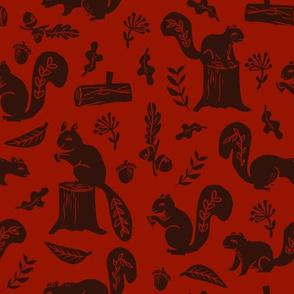 squirrels // maroon squirrel fall autumn fabric linocut fabrics andrea lauren design acorns nature