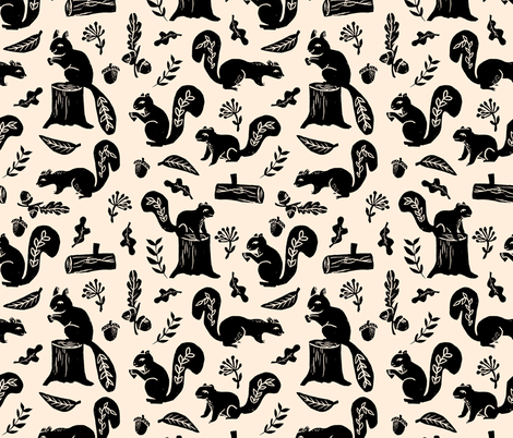 squirrels // block print fall autumn linocut squirrels leaves oak woodland fabric by andrea_lauren on Spoonflower - custom fabric