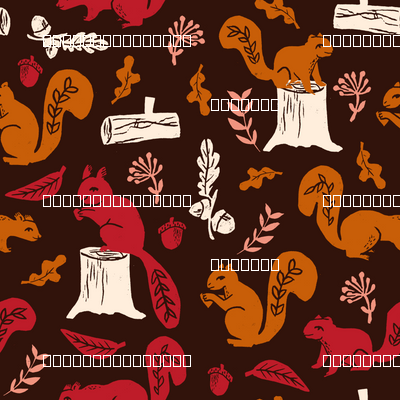 squirrels // linocut squirrel pattern by andrea lauren oak leaves acorn logs trees nature linocuts by andrea lauren