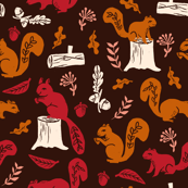 Fall Squirrels - Dark by Andrea Lauren