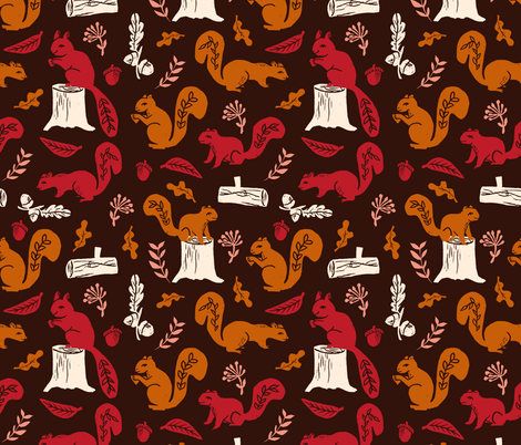 squirrels // linocut squirrel pattern by andrea lauren oak leaves acorn logs trees nature linocuts by andrea lauren fabric by andrea_lauren on Spoonflower - custom fabric