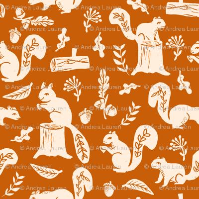 squirrels // linocut fall autumn squirrels trees acorn oaks andrea lauren fabric