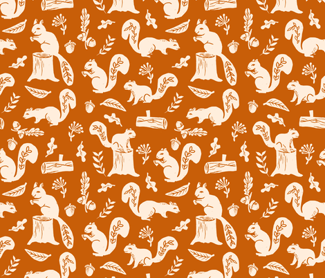 squirrels // linocut fall autumn squirrels trees acorn oaks andrea lauren fabric fabric by andrea_lauren on Spoonflower - custom fabric