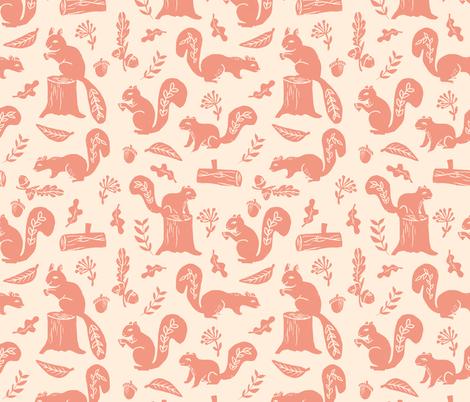squirrels // linocut nature art pattern by andrea lauren fabric by andrea_lauren on Spoonflower - custom fabric