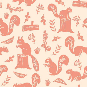 squirrels // linocut nature art pattern by andrea lauren