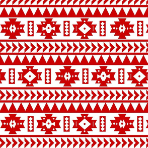 Red and White Aztec Tribal Print