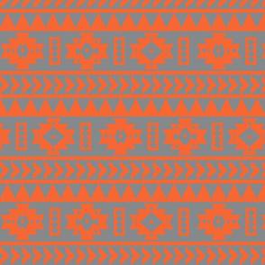 Gray and Orange Aztec Tribal Print