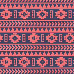 Coral and Blue Aztec Tribal Print