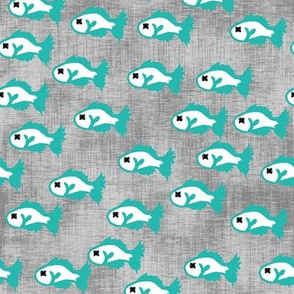 Fish Print for Cat Stuff Teal