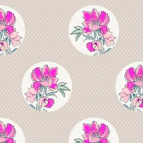 Vintage Floral Dot on Dot Hot Pink