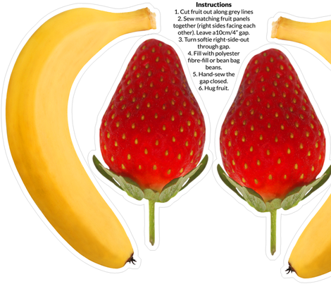 Banana & Strawberry Photo Softie DIY with instructions fabric by thecumulusfactory on Spoonflower - custom fabric