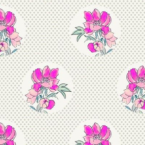 Vintage Floral Dot Dot Pink Grey