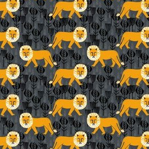 Safari Lion - Turmeric/Charcoal by Andrea Lauren (Small Version)