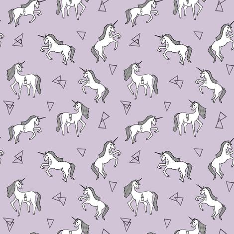 unicorn // pastel purple lilac lavender pale purple girls sweet unicorns fabric fabric by andrea_lauren on Spoonflower - custom fabric