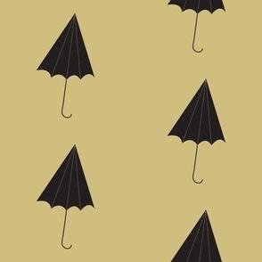 black umbrellas on walnut