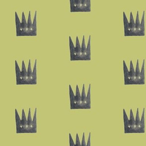 Watercolor crowns on light olive