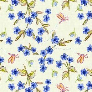 Flowers and butterflies on texture
