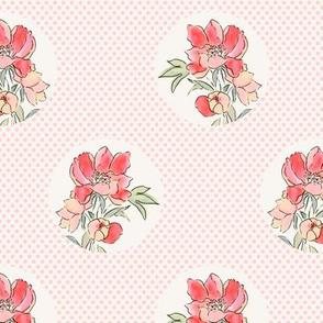 Vintage Floral Dot on Dot Pale Pink