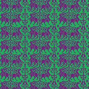 Twelfth Century Sicilian Damask (purple and green)