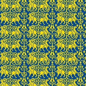 Twelfth Century Sicilian Damask (blue and gold)