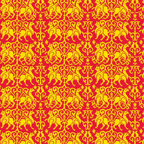 Twelfth Century Sicilian Damask (red and gold)
