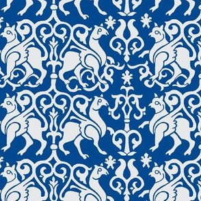 Twelfth Century Sicilian Damask (blue and white)