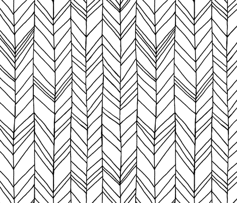 Featherland (Large) White/Black fabric by leanne on Spoonflower - custom fabric