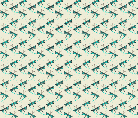 Turquoise Dragonflies fabric by doug_miller on Spoonflower - custom fabric