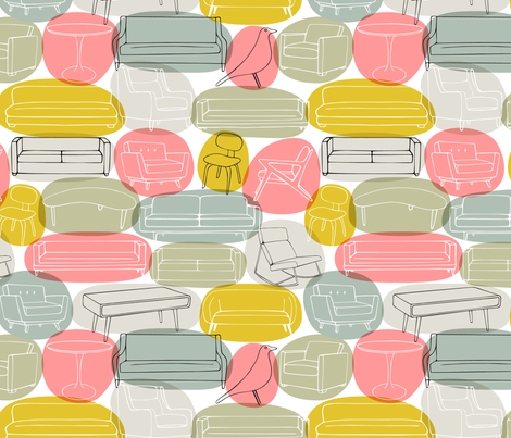 Sofa What, Who Chairs: pink bubbles fabric by nadiahassan on Spoonflower - custom fabric