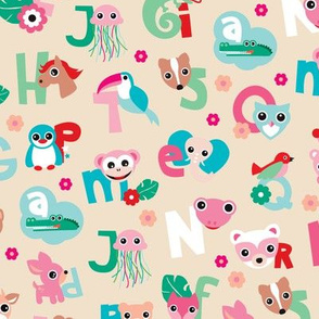 Fun kids animals abc back to school alphabet illustration print