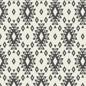 Cream & Dark Gray Aztec with Diamonds