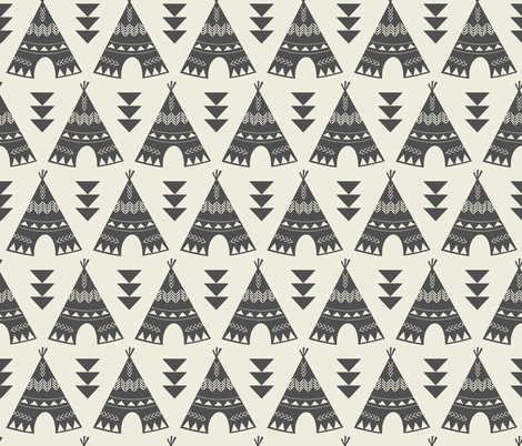 Little Indians-Gray Teepees fabric by bohemiangypsyjane on Spoonflower - custom fabric