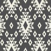 Dark Gray & Cream Aztec with Diamonds-R