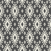 Dark Gray & Cream Aztec with Diamonds-R