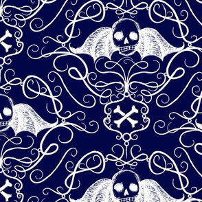 Winged Skulls-navy