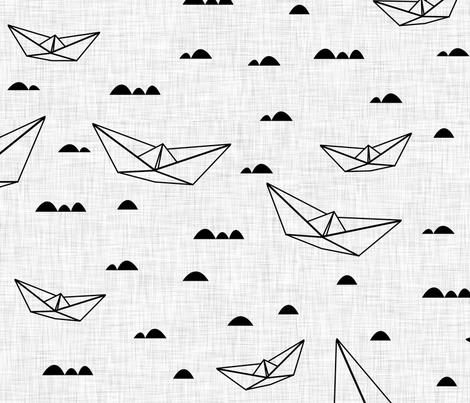 Paper boats (b&w) fabric by les_motifs_de_sarah on Spoonflower - custom fabric