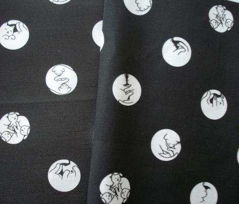 Sleeping Cats polka dots white on black